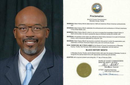 MBCC #BlackInBiz Spotlight Reggie Bellamy presents proclamation in recognition of Black history month.